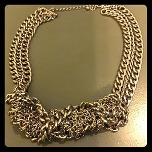 """NWOT silver metal 16"""" multi-chain knot necklace"""